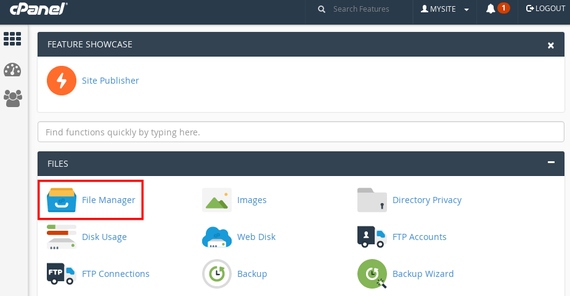 file manager link on cpanel home page